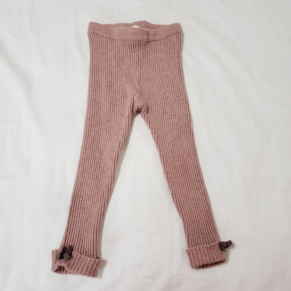 Zara Baby Ribbed Leggings with Bow